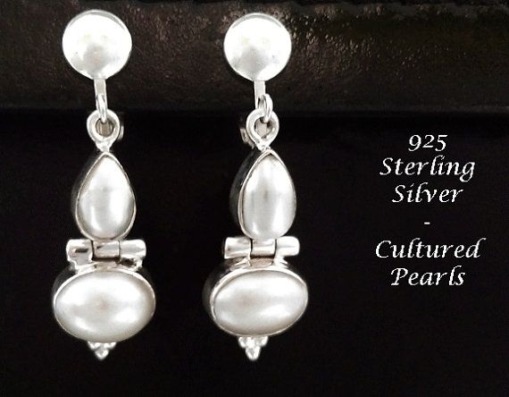Clip On Earrings: Classy Cultured Pearls Feature in Stunning 925 Sterling Silver Clip On Earrings | Pearl Earrings @ https://www.etsy.com/shop/EarringsArtisan and https://www.etsy.com/shop/ClipOnEarringsShop #cliponearrings #sterlingsilvercliponearrings #clipearrings #clip #earrings #silverearrings #silvercliponearrings #clipon #pearlearrings #pearls