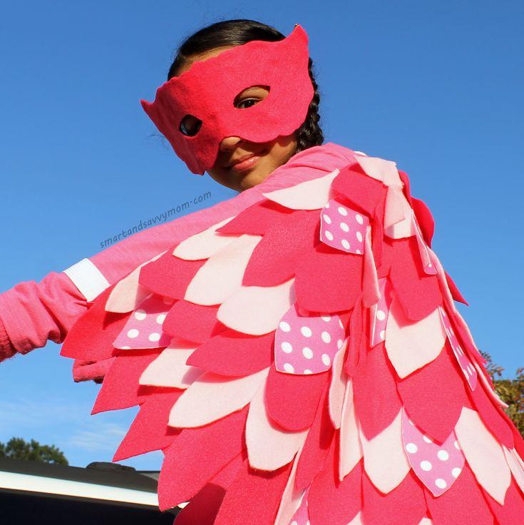 owlett costume, no sew, diy, do it yourself pj masks costume