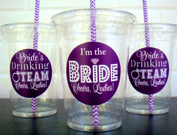 Bachelorette Party Cups, Bride's Drinking Team, and I'm the Bride cup, Cheers Ladies Disposable Plastic Cups
