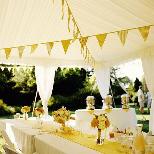 Decoración amarilla de banquetes para bodas de dia. Ideas para banquete de boda