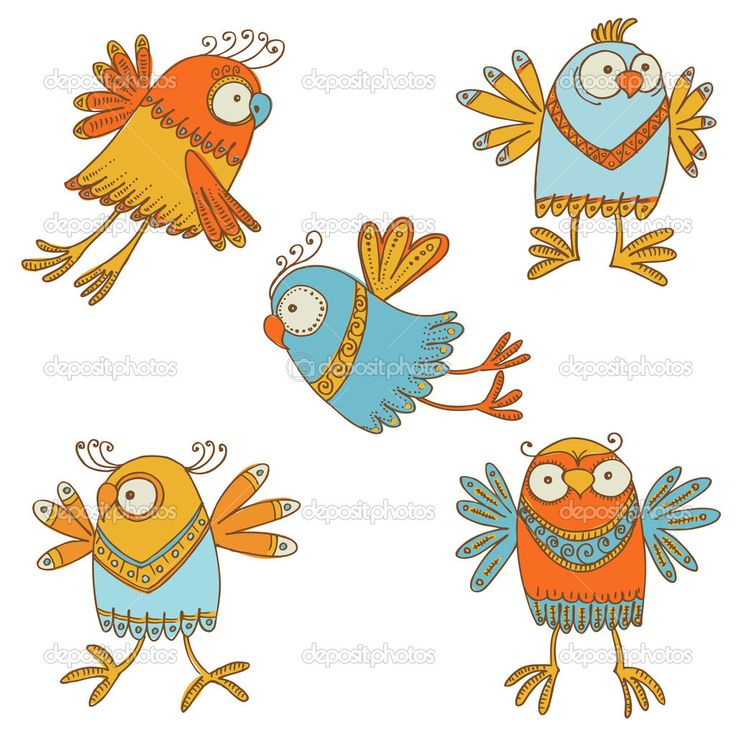 милые птицы - для дизайна, baby записки - в векторе - Стоковая иллюстрация: 27953569