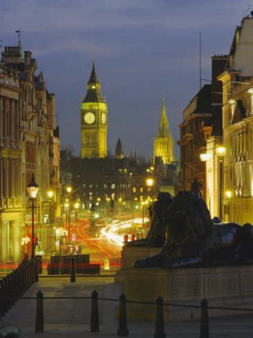 Evening View from Trafalgar Square Down Whitehall, London