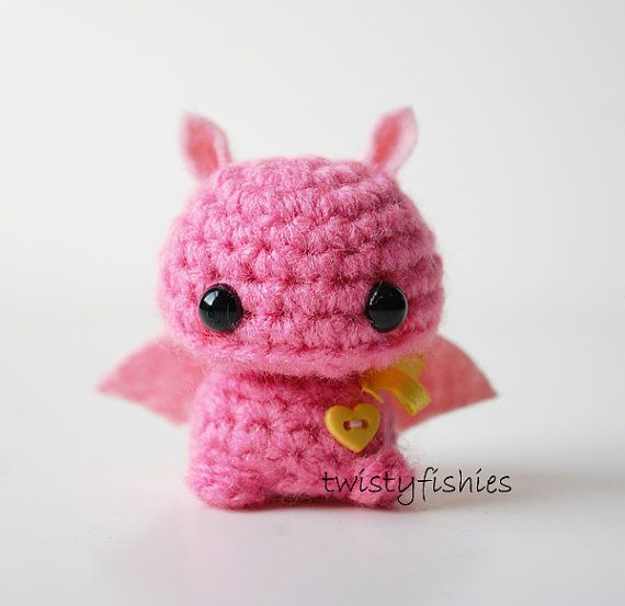 Baby Pink Bat Kawaii Mini Amigurumi Plush by twistyfishies