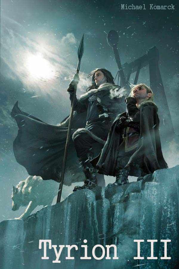 AGOT Tyrion III banner - Jon Snow and Tyrion Lannister on the top of the Wall by Michael Komarck