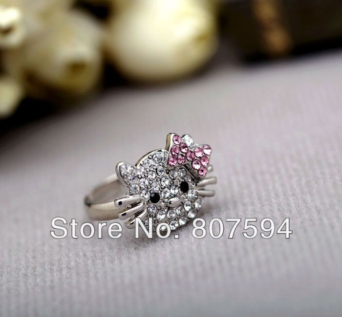retail Silver color girl's hello kitty rings jewelry full crystals 1pcs/lot JR28