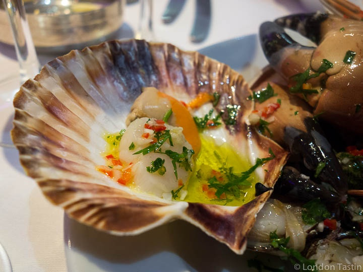 THE SEAFOOD RESTAURANT - RICK STEIN AT PADSTOW Hot Shellfish with parsley, chilli, olive oil, garlic and lemon juice (£25.50)   Langoustines, oysters, scallop, winkles, mussels, whelks, clams, cockles, razor clams and crab claws.