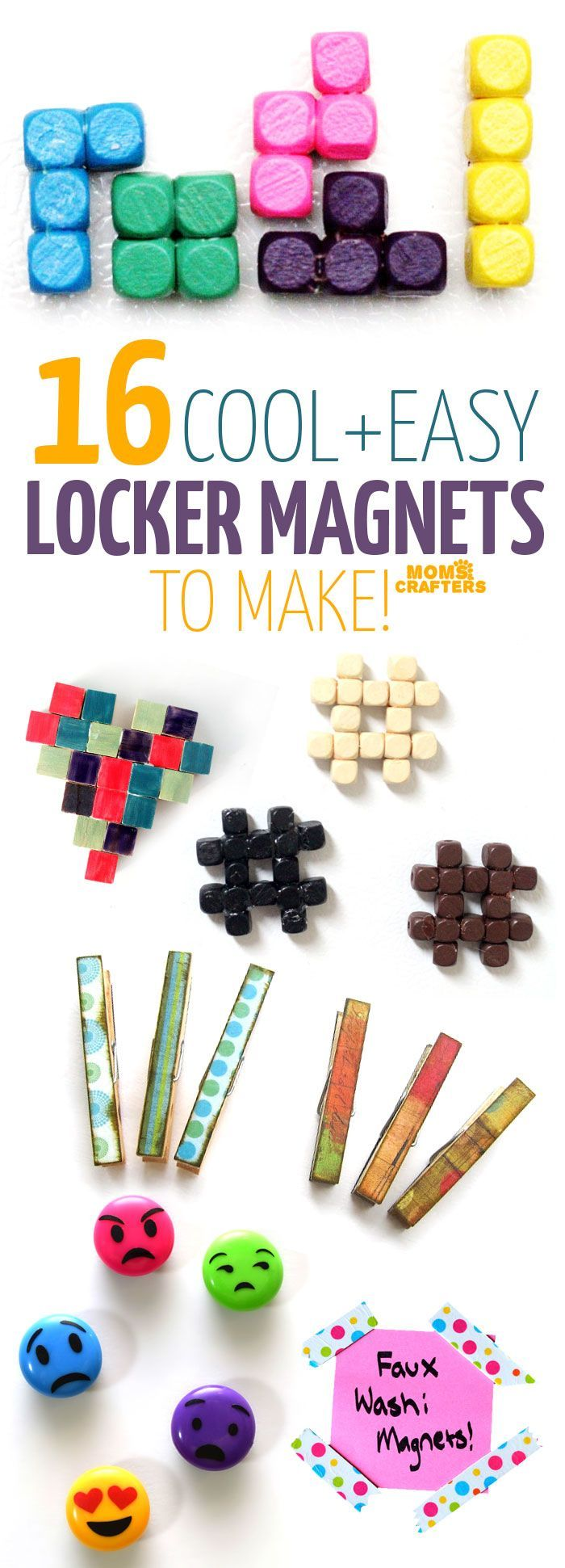 Check out these 16 COOL MAGNET CRAFTS - diy magnets that are perfect for your locker or fridge! These locker magnets include emojis, hashtags, washi tape, and plenty more cool stuff. Perfect back to school crafts for tweens and teens...