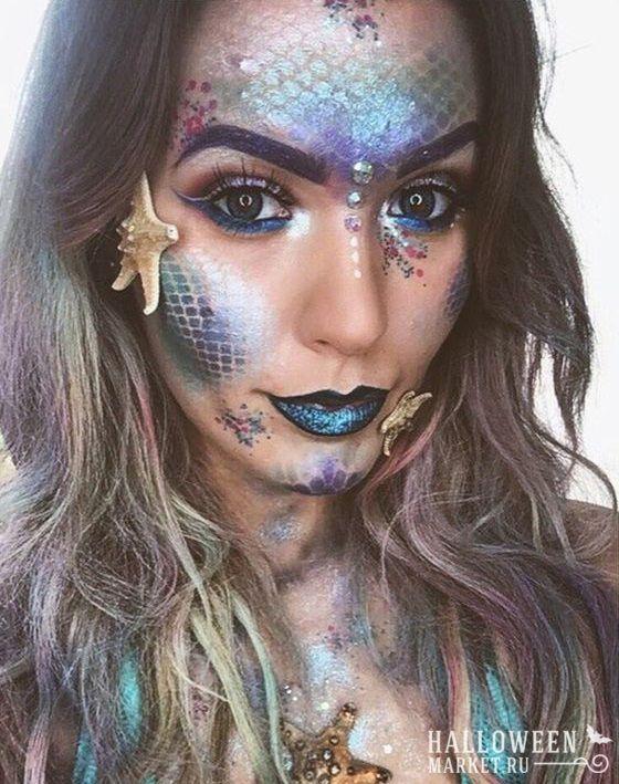 #mermaid #makeup #halloweenmarket #halloween  #грим #макияж #морскаятема #русалка Макияж русалки на хэллоуин (фото)