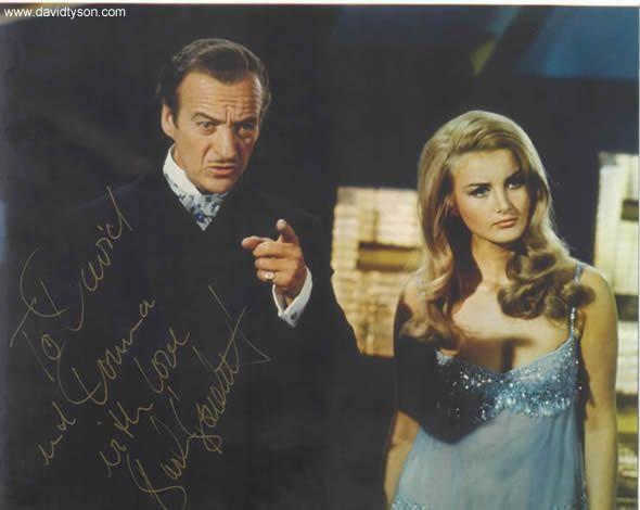 David Niven as Sir James Bond & Barbara Bouchet as ...