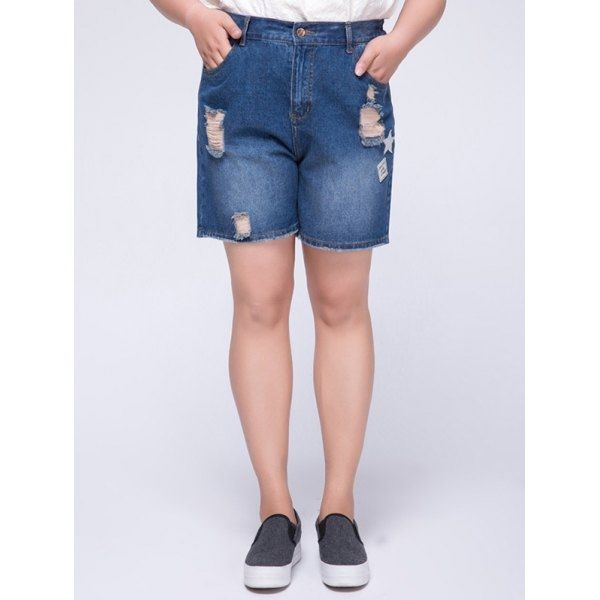 15.25$  Buy now - http://di1jc.justgood.pw/go.php?t=186710405 - Stylish Plus Size High Waist Appliqued Ripped Women's Shorts