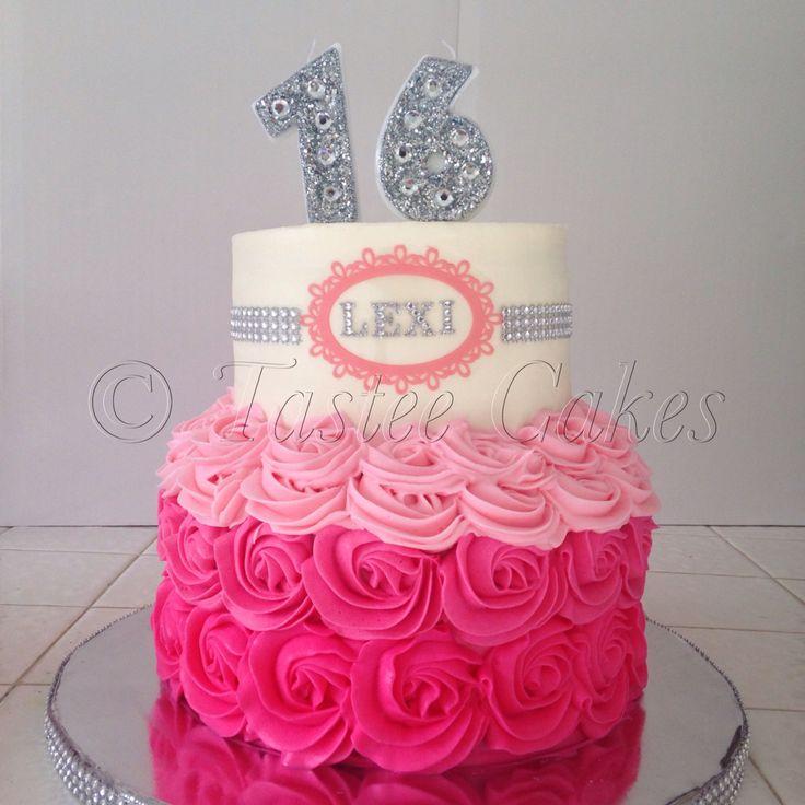 Bling cake, 16th birthday, pink cake, rosettes, teenage cake, bling candles, rhinestone cake