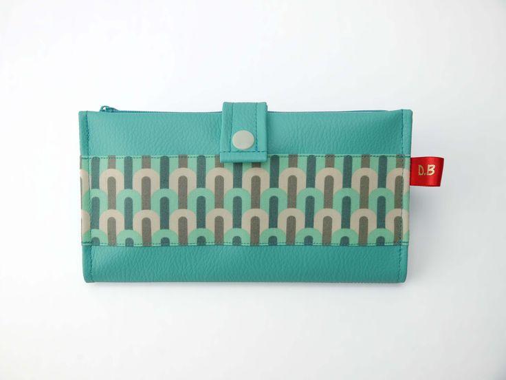 Portefeuille Porte-chéquier en simili-cuir turquoise : Porte-monnaie, portefeuilles par d-balzan