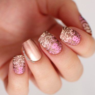 Romantic Baroque Nail Art  nail art by Kristin (Lacquerstyle)