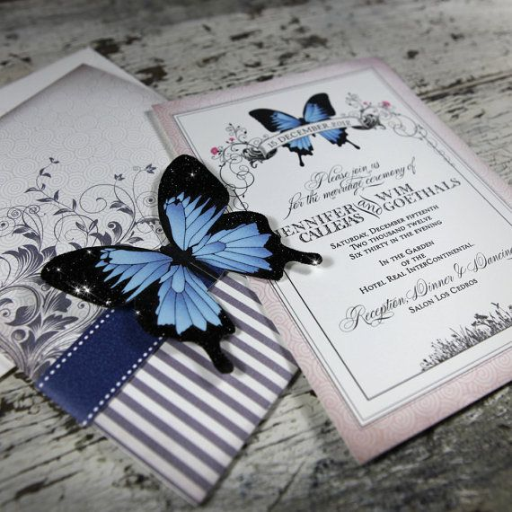 Blue Mountain Butterfly Wedding Invitation by BellaBaroqueDesign