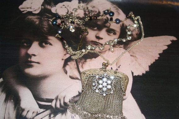 Mesh purse necklace Joan of Arc Antique  Purse Assemblage