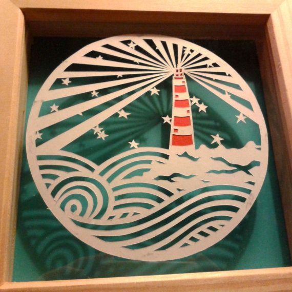 Hand+cut+Paper+Cutting.+LIGHTHOUSE+BEACH+by+HullabalooPapercuts,+£15.00