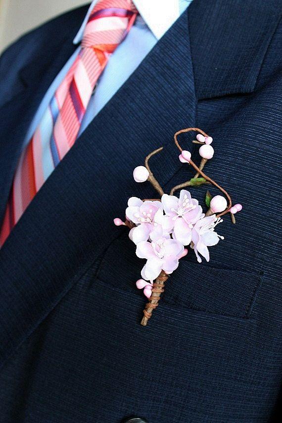 Cherry Blossom Boutonniere Blush Men's Buttonhole by NoviaBellaTS