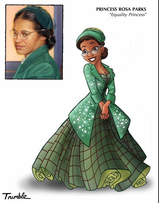 Rosa Parks / If Rosa Parks And Hillary Clinton Were Disney Princesses via Artist David Trumble (via BuzzFeed)