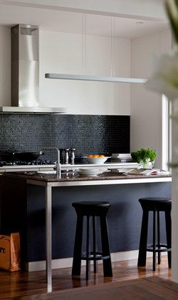 Small but stylish black and white kitchen