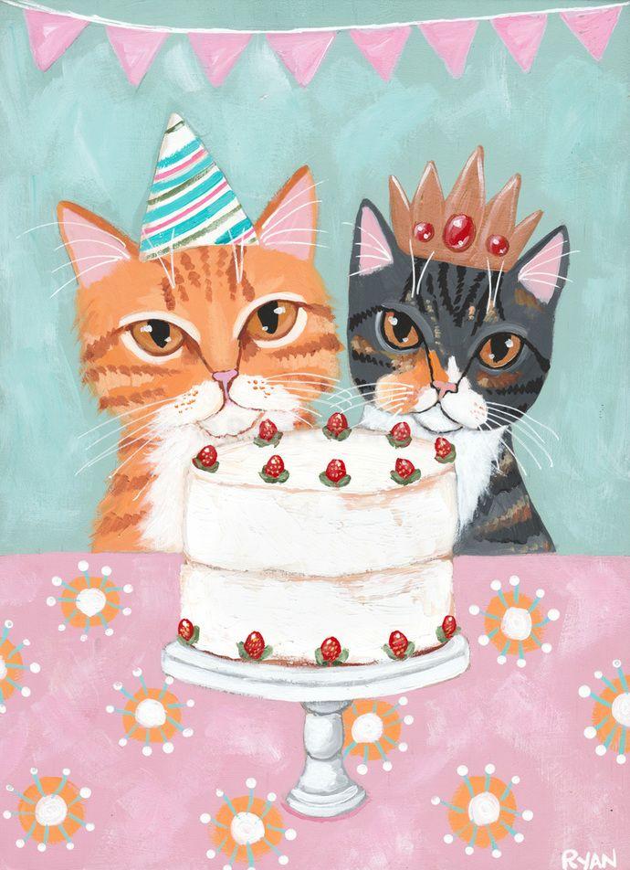 Happy Birthday Cats Original Cat Folk Art Painting By Kilkennycat Art 85 00 Usd Copyright C Ryan Conn Happy Birthday Cat Happy Birthday Painting Cat Birthday