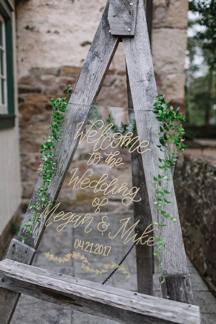 Modern Acrylic Wedding Signage ~ Hand painted in gold on acrylic