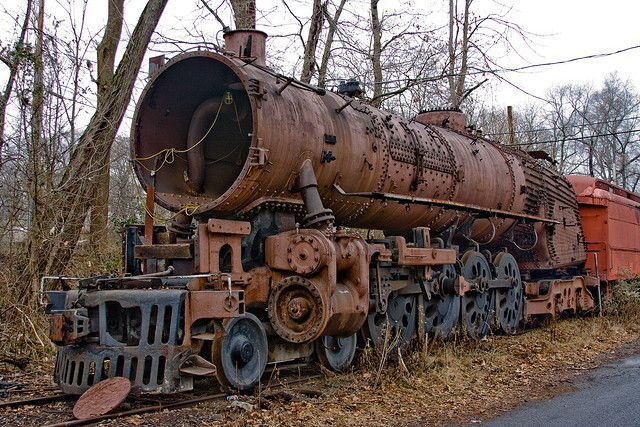 These rusting railway engines appear to be abandoned in a sort of train graveyard at the New Hope and Ivyland Railroad in Pennsylvania, United States.