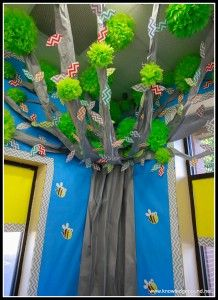 Tree with chevron leaves made from CTP's Chevron Borders.  Check out for more Chevron Classroom Ideas