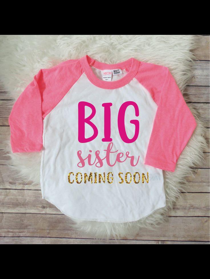 Big sister coming soon, big sister announcement, sibling announcement, birth announcement, baby announcement, big sister shirt, pink raglan by JADEandPAIIGE on Etsy https://www.etsy.com/listing/584630827/big-sister-coming-soon-big-sister