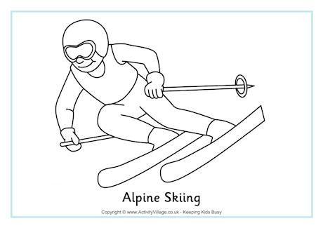 Alpine Skiing Colouring Page