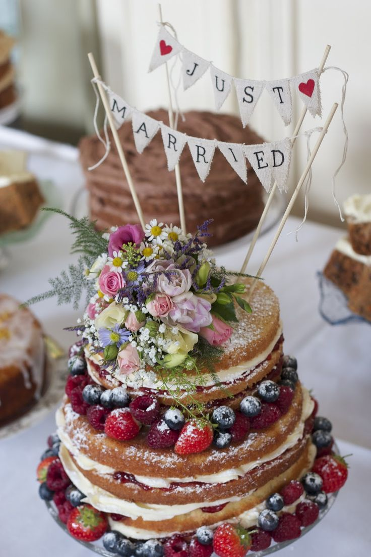 Best 25 afternoon tea wedding ideas on pinterest afternoon tea gorgeous naked wedding cake with fresh fruit and bunting junglespirit Choice Image