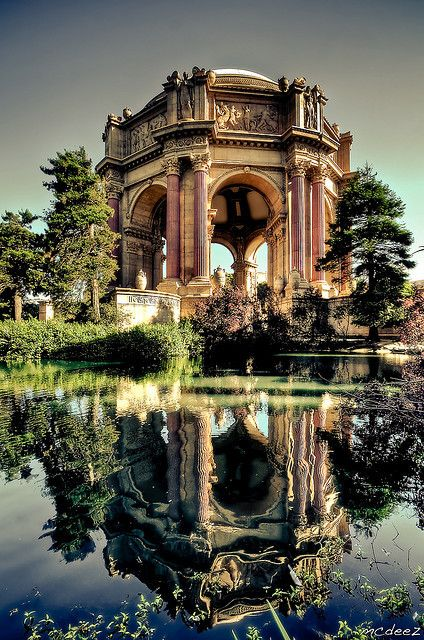 The Palace of Fine Arts in San Francisco, California, USA is located in the Marina District just outside the Presidio near Crissy Field.