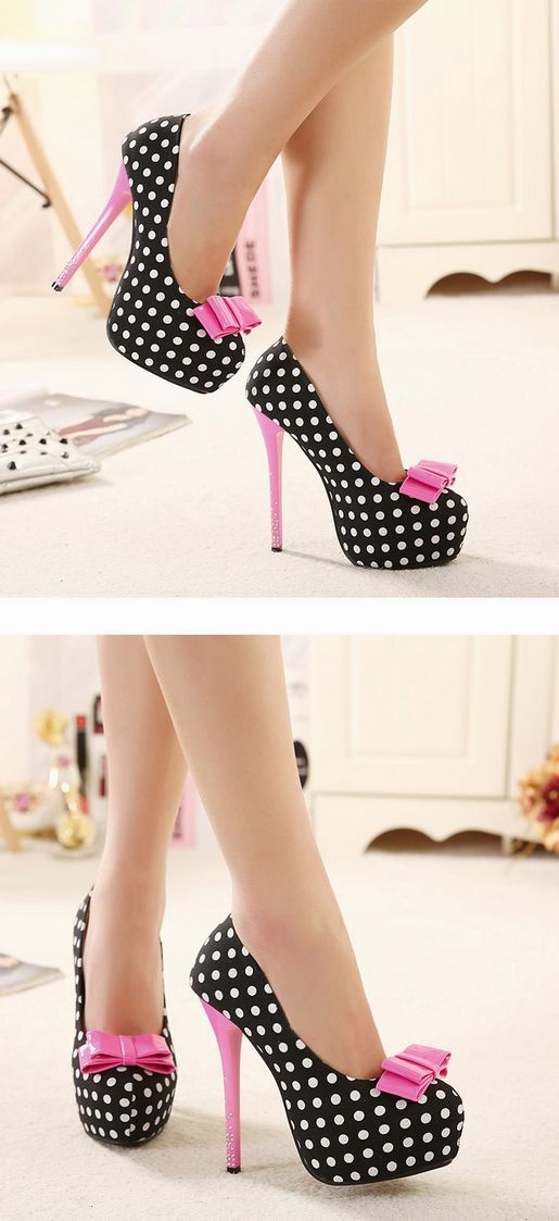 Sweet bowknot rhinestone platform high-heeled shoe