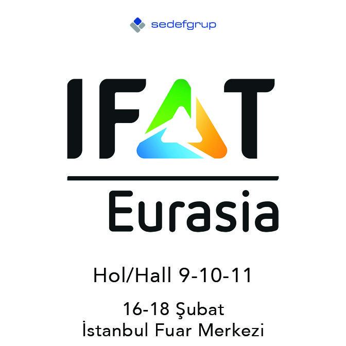 Sedef Grup'un alan kurulumu , pavilyon, özel dekor ve branding konularında hizmet verdiği, IFAT Eurasia 2017 / Çevre Teknolojileri Fuarı, 16-18 Şubat 2017 tarihleri arasında İstanbul Fuar Merkezi'nde ziyaretçilerini ağırlayacak.