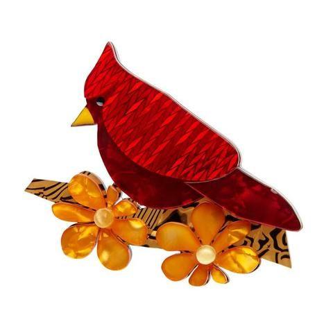 Erstwilder Ruby the Red Cardinal Bird Brooch