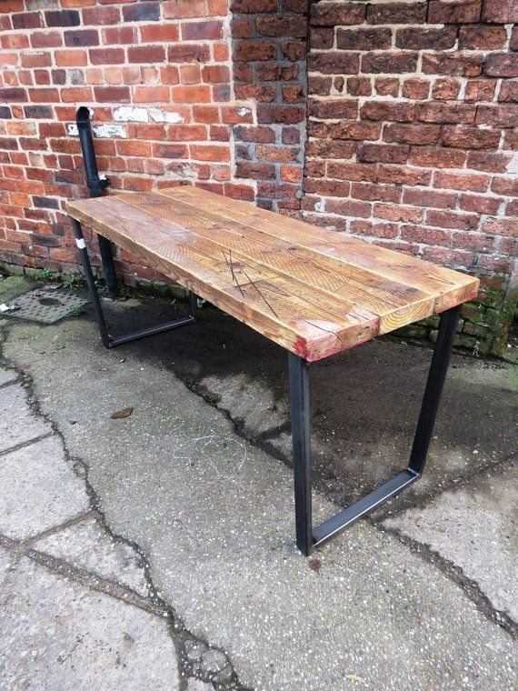 Reclaimed Industrial Chic Trapezium Wood & Metal Desk/ Dining Table Bar cafe Resturant Tables Steel and Wood Metal Hand Made