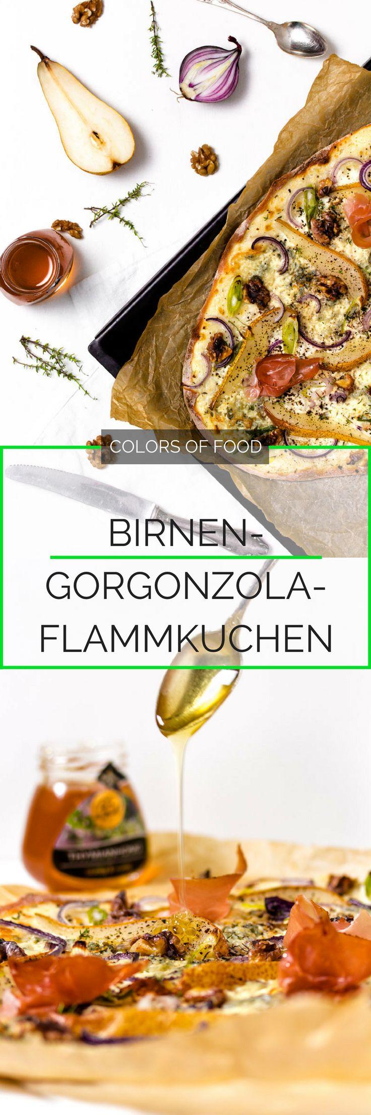 Dieser schnell gemachte,hauchdünne, krosse Birnen-Gorgonzola-Flammkuchen ist der perfekte Snack für jeden Anlass und ein geschmacklicher Knaller!