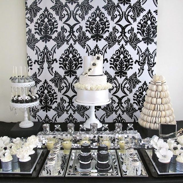 little big company the blog glamorous black and white with a touch of silver white dessert tableswhite