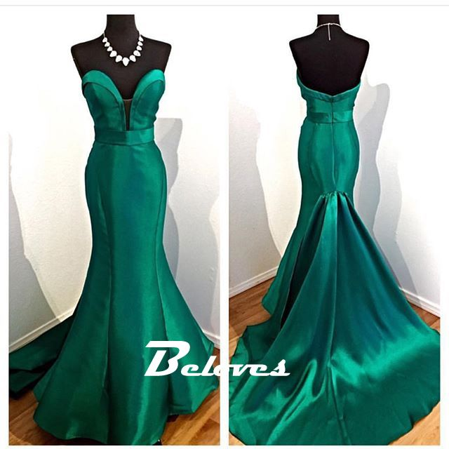 Emerald Green Satin Sweetheart Mermaid Gown With Sweep Train · Beloves · Online Store Powered by Storenvy
