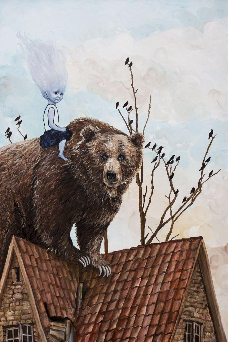 """""""En bjørn på taget er bedre...""""  150 x 100 cm  Se maleriet (samt en perlerække af dygtige samtidskunstneres værker) til """"Grand Opening"""" d. 14. marts hos Nordahl & Nissen Contemporary, Bredgade 65A, 1.sal, København."""