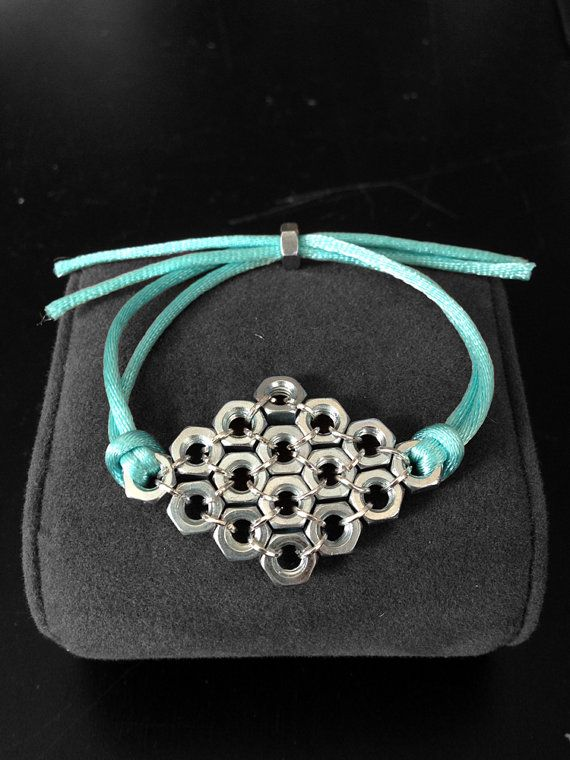 Diamond Hex Nut Bracelet // handmade // Tiffany's blue // wine by dariaandnoor. Explore more products on http://dariaandnoor.etsy.com