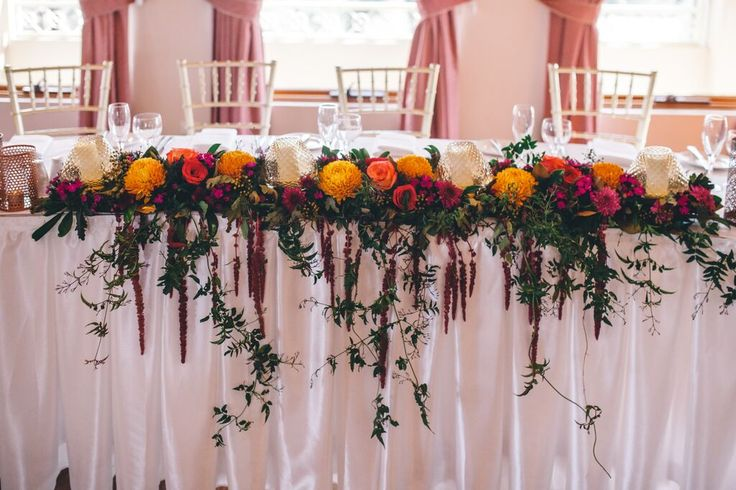 Beautiful pop of colour on the bridal table! Rustic and beautiful! | Regency Room, Eschol Park House | Styled by Visually Creative | Photo by Beth Fernly Photography