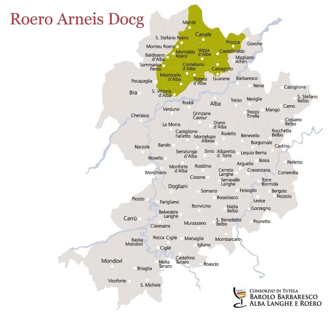 Roero Arneis Docg, the map of vineyards