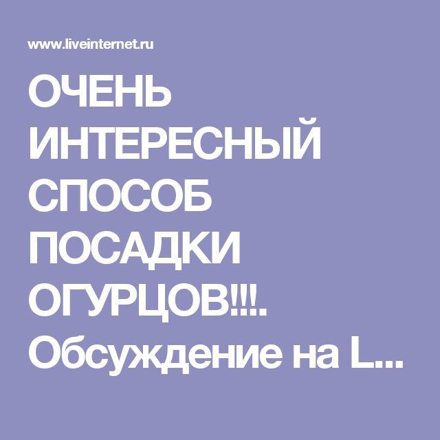 ОЧЕНЬ ИНТЕРЕСНЫЙ СПОСОБ ПОСАДКИ ОГУРЦОВ!!!. Обсуждение на LiveInternet - Российский Сервис Онлайн-Дневников