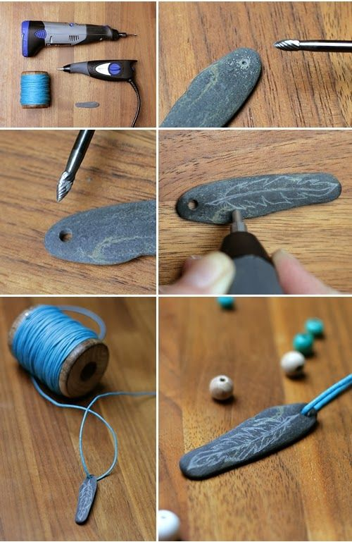 stone, diy, gringered things, chain, feather
