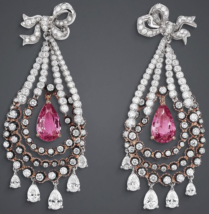 """DIOR. """"Salon de Mars Briolette"""" earrings in white and pink gold, scorched silver, diamonds and pink sapphires."""