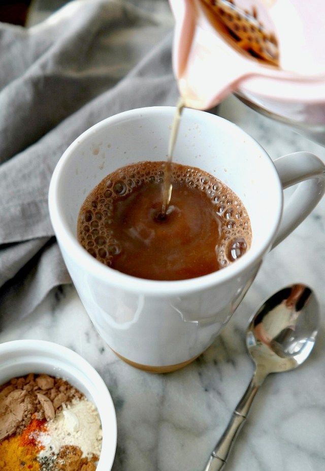 Superfood Coffee Elixir- VEGAN & DAIRY FREE. An energizing blend of nutrient-dense superfoods and spices to amp up your morning coffee. From The Glowing Fridge