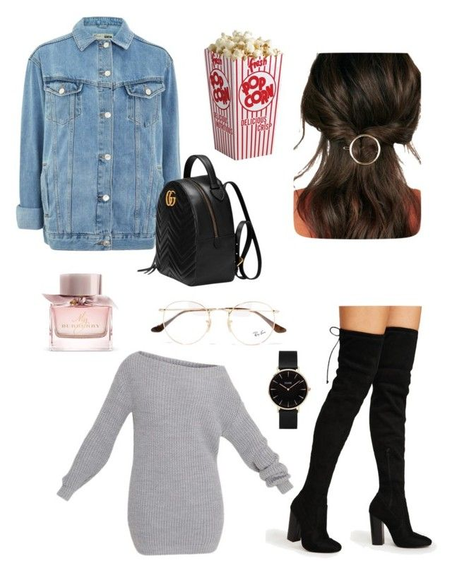 """""""Cinema Night"""" by matinapapadopoulou on Polyvore featuring Topshop, Gucci, JustFab, Ray-Ban, Burberry and CLUSE"""