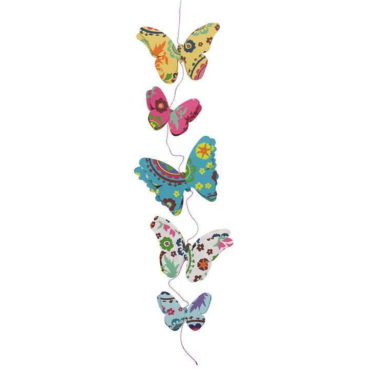 Display this vibrant paper butterfly garland as a sign of the life and colors of springtime. Wherever you hang it—on a screen porch, in your kitchen or above your desk—it will bring a smile and a splash of color to every day.