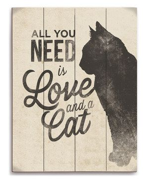 Love this 'Love and a Cat' Silhouette Wall Art by Image Canvas on #zulily! #zulilyfinds