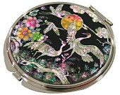 Mother of Pearl Makeup Mirror finetree & crane Design Cosmetic mirror Handbag Purse handheld Compact hand pocket Mirror
